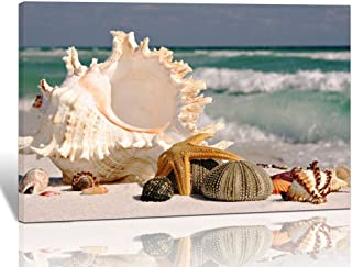 Purple Verbena Art 10x14 Inch Large Seashell Starfish with Blue Sea Wave Prints on Canvas Paintings, HD Giclee Seaview Landscape Modern Artwork for Living Room Walls Decor, Stretched and Framed