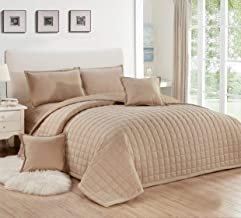 Compressed two-sided Comforter 4 Pieces Set, Single Size,Beige