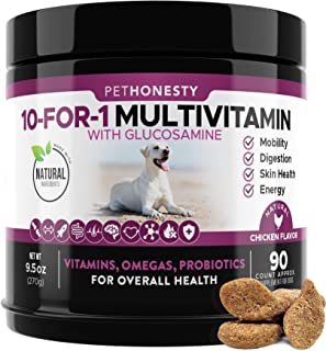10 in 1 Dog Multivitamin with Glucosamine - Essential Dog Vitamins with Glucosamine Chondroitin, Probiotics and Omega Fish...