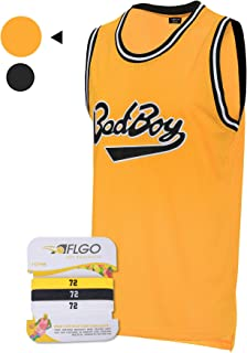 AFLGO BadBoy #72 Smalls Basketball Jersey S-XXXL Yellow, 90's Clothing Throwback Notorious Biggie Athletic Apparel Clothing Stitched - Top Bonus Combo Set with Wristbands