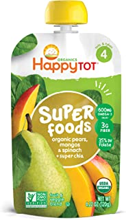 Happy Tot Superfoods Stage 4 Organics Toddler Food Pear Mango Spinach, 4.22 Ounce Pouch (Packaging May Vary)