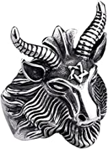 SAINTHERO Men's Stainless Steel Ring Band Vintage Gothic Satan Worship Baphomet Ram Aries Zodiac Sheep Goat Head Horn Biker Ring Size 7-13