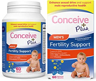 Conceive Plus Men's Fertility Vitamins – Boost Testosterone, Increase Sperm Production – Zinc, Folate, Maca Root, Selenium...