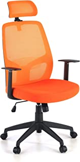 OFICHAIRS | Silla Aspen |Silla giratoria de Oficina | Silla de Escritorio |Respaldo Alto | Mecanismo basculante | Brazos fijos | tapizada | Color Naranja