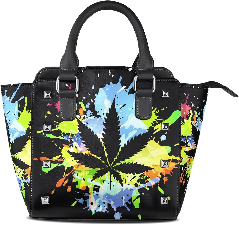 My Little Nest Women's Top Handle Satchel Handbag colorful Maple Leaf Ladies PU Leather Shoulder Bag Crossbody Bag
