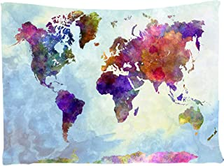 Assaoy Tapestry World Map, Watercolor World Map Tapestry Wall Colorful Hanging Art Sets Home Decor for Bedroom Living Room Dorm Apartment 60 X 80 Inches (Tapestries Map)