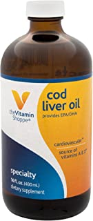 The Vitamin Shoppe Cod Liver Oil, Natural Orange Flavor, Natural Rich Source of Vitamins A D, Natural Source of Omega3s, S...