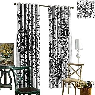 nooweihome Sacred Geometry Grommet Curtain Kitchen Window Occult Symbols Art Sliding Darkening Curtains W96 x L108