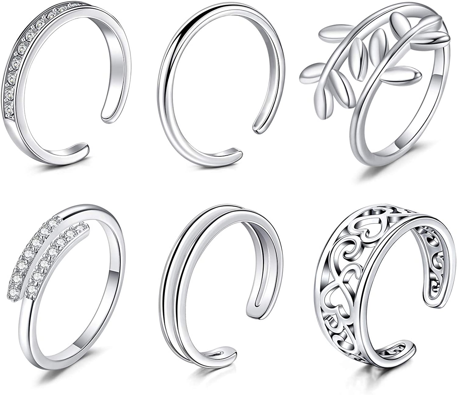 Longita Adjustable Toe Rings for Women Knuckle Tail Ring Simple Open Band Flower Fingers Joint Hypoallergenic Sandals Foot Jewelry