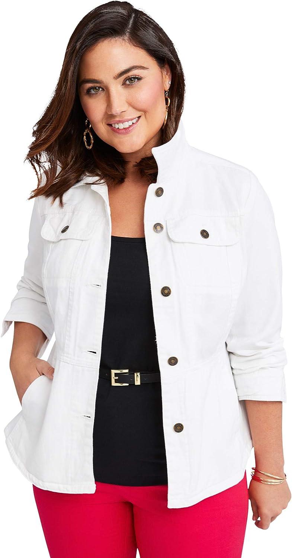 Jessica London Women's Plus Size Peplum Denim Jacket Feminine Jean Jacket