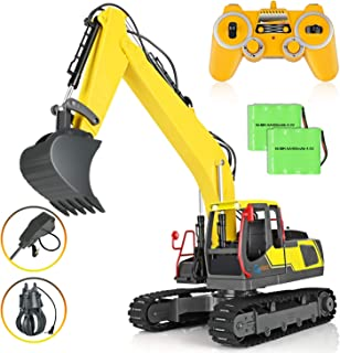 GoStock Remote Control Excavator Toy Digger, 17 Channel Full Functional 3-in-1 Hobby Grade RC Construction Vehicles Truck 2.4GHz Metal Shovel with 2 Bonus Drill and Grasp for Kids Gift