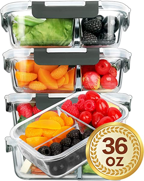 5 Packs Glass Meal Prep Containers 3 Compartment With Lids Glass Lunch Containers Food Prep Lunch Box Bento Box BPA Free Microwave Oven Freezer Dishwasher Safe 36 Oz