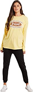 Oversized Slogan Printed Long Sleeve Graphic T-Shirt For Women's Closet by Styli
