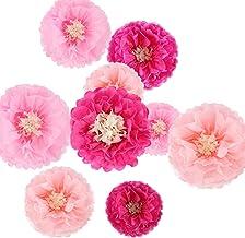 9 pompones de papel de seda con diseño de flores de crisantía, manualidades para bodas, guarderías, decoración de pared