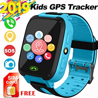 Kids Smartwatch with SIM Card, Smart Watch Phone for Kids with GPS Tracker SOS Flashlight Alarm Clock Security Zone Voice Chat Compatible with 2G T-Mobile Birthday Gift Toys for 4-12 Girls Boys(Blue)