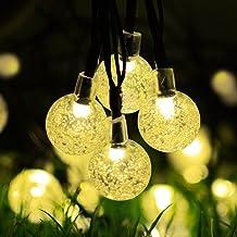 Solar String Lights Outdoor 30 LED Globe Powered Lights 6m / 20 ft , 8 Lighting Modes Crystal Ball Starry String Lights, D...