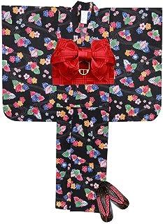 浴衣 こども 女の子 浴衣 セット 100 紅型風 子供浴衣 作り帯 下駄 3点セット「黒 流水」BIN-10-HK-setC