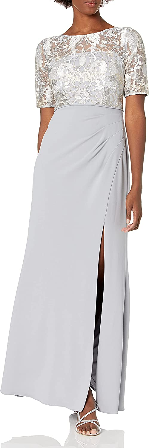 Adrianna Papell Women's Embroidered Long Gown