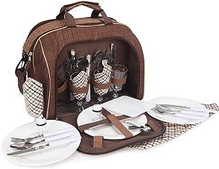 BRUBAKER Bolsa de Picnic para 4 Personas Color Marrón 38 × 30 X 21,5 Cm Bolsa de Hombro con Compartimento de Refrigerante