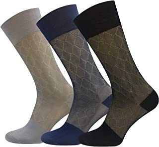 3 Pairs Mens Silk Sheer Socks Mid Calf Ultra Thin Nylon Dress Sock Soft Daily Casual Stockings Work Business Sox