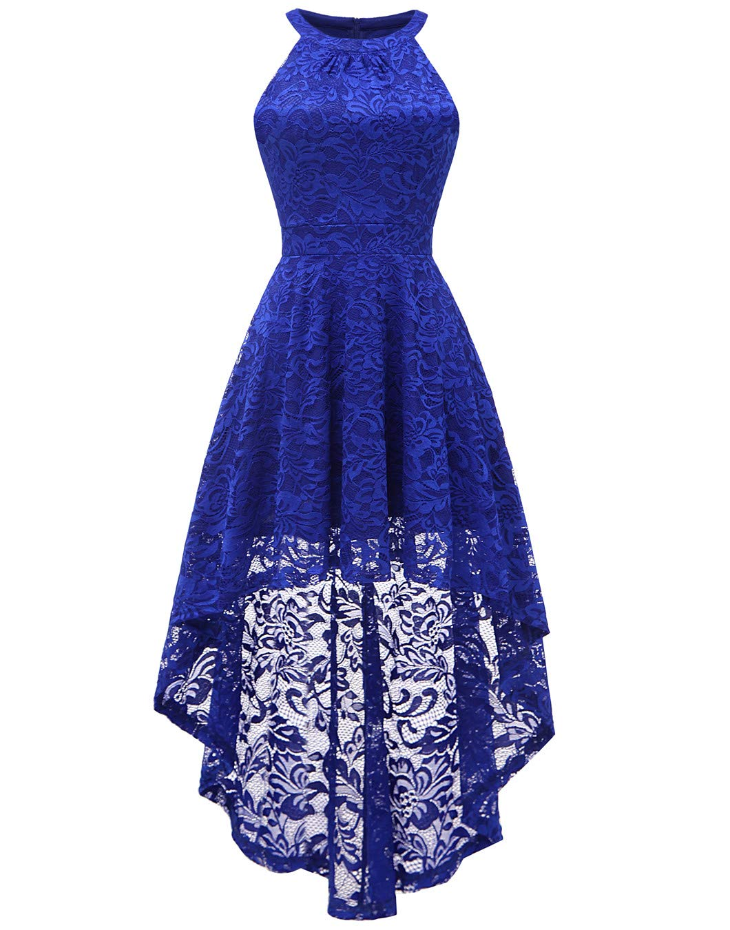 Available at Amazon: BeryLove Women's Halter Hi-Lo Floral Lace Cocktail Party Dress Bridesmaid Formal Swing Dress