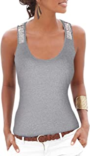 Yidarton Women's Sequin Vests Casual Tank Tops Sleeveless T Shirt Blouses(Gray,S)