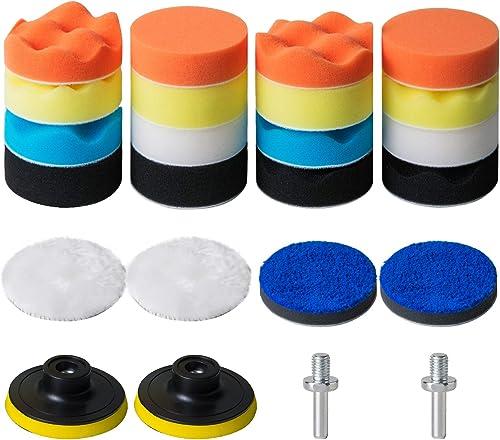 high quality STUHAD 3-Inch Polishing Pad Kit, 24pcs Sponge Buffing Pads for Car Foam Drill, Drill Buffer Attachment for Waxing, sale discount Polishing, Sealing Glaze sale