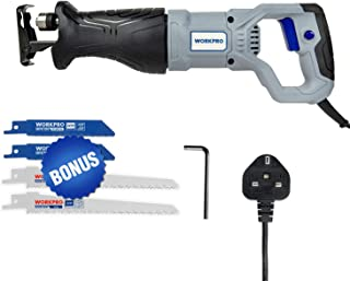 WORKPRO 710W Reciprocating Saw with 4 Saw Blades, Variable Speed, Stroke 20mm, UK 3 Pin Plug