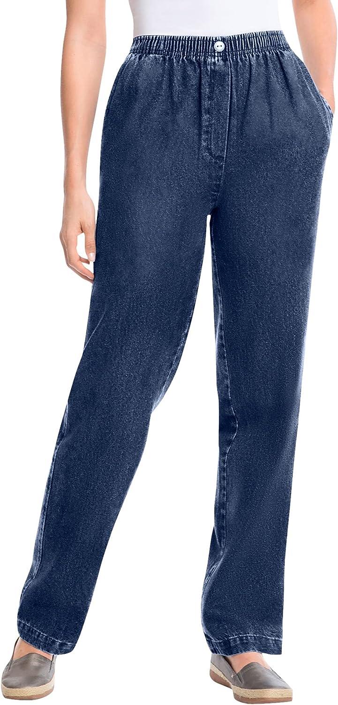 Woman Within Women's Plus Size Elastic-Waist Cotton Straight Leg Pant