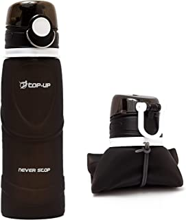 TOP-UP Collapsible Water Bottle - Lightweight Water Bottle - Silicone Foldable Leakproof Water Bottles 26oz - Fold Up Roll Up Water Bottle- for Hiking, Camping, Traveling, Gym, Running, Walking