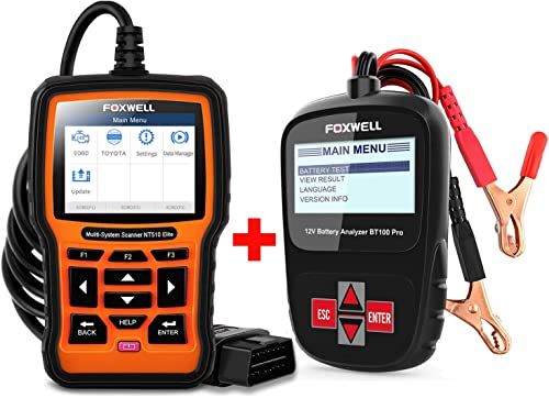 lowest FOXWELL Car Battery Tester Analyzer outlet online sale BT100 Pro 12V Automotive 100-1100CCA Detect Health Faults with Foxwell Car Scanner popular NT510 for Toyota outlet online sale