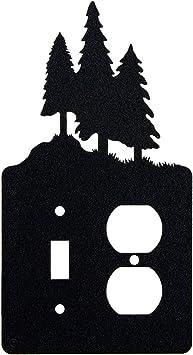 3 Pine Trees Toggle Light Switch Single Gang Rocker Gfci Wall Plate Single Toggle With Gfci Rocker Black Amazon Com