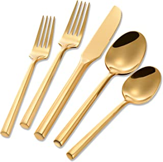 Flatasy Flatware Sets Stainless Steel 20 Piece Gold Plated Hexagon Set Service for 4