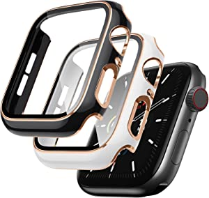 Lovrug 2 Pack Cases Compatible with Apple Watch Case 44mm SE/Series 6/5/4 Built in Tempered Glass Screen Protector Ultra-Thin Bumper Full Coverage iWatch Protective Cover for Women Men (Black/White)