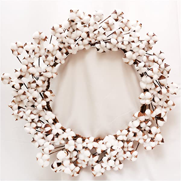 Real Cotton Wreath 23 29 Adjustable Stems As More As 110 Cotton Bolls Per Wreath Made From Natural White Cotton Flowers Bolls For Front Door Festival Hanging Decorations Welcome Decor