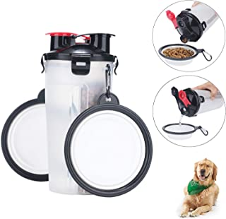 VIPpet Dog Travel Water Bottle Bowls Upgraded 2 in 1 Portable Dog Travel Water Dispenser with 2 Collapsible Silicone Bowls for Outdoor Walking Hiking Travelling