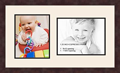 """No Hardware to Install. Vertical or Horizontal Mounts /& Easy to Hang Trees/&Forrest 8x10 Inch Black Picture Frame 3-Pack Displays an 6x8 Picture with Mat or an 8x10/"""" Photo Without Mat"""