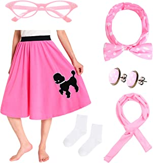 JustinCostume Women's 50's Outfit Poodle Skirt Costume Kit