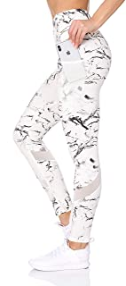 BSP Better Sports Performance Women's High Waist Leggings - Active Yoga Pattern Workout Pants with Mesh Pockets