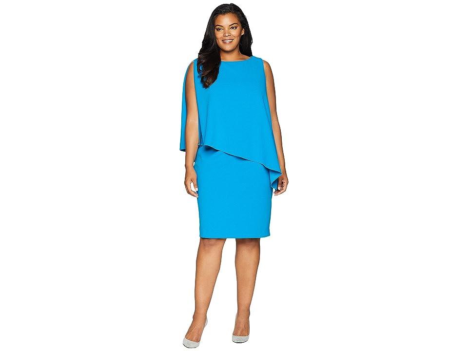 104a0011108 LAUREN Ralph Lauren Plus Size 130H Luxe Scuba Crepe Cooper One Shoulder Day  Dress (Maremma Blue) Women s Dress