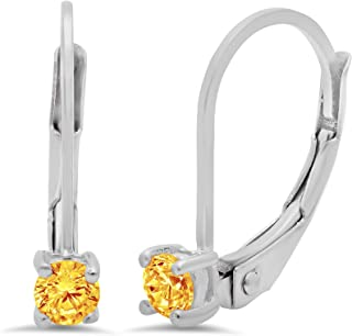 3.9ct Round Brilliant Cut Leverback Drop Dangle Earrings Solid 14k White Gold