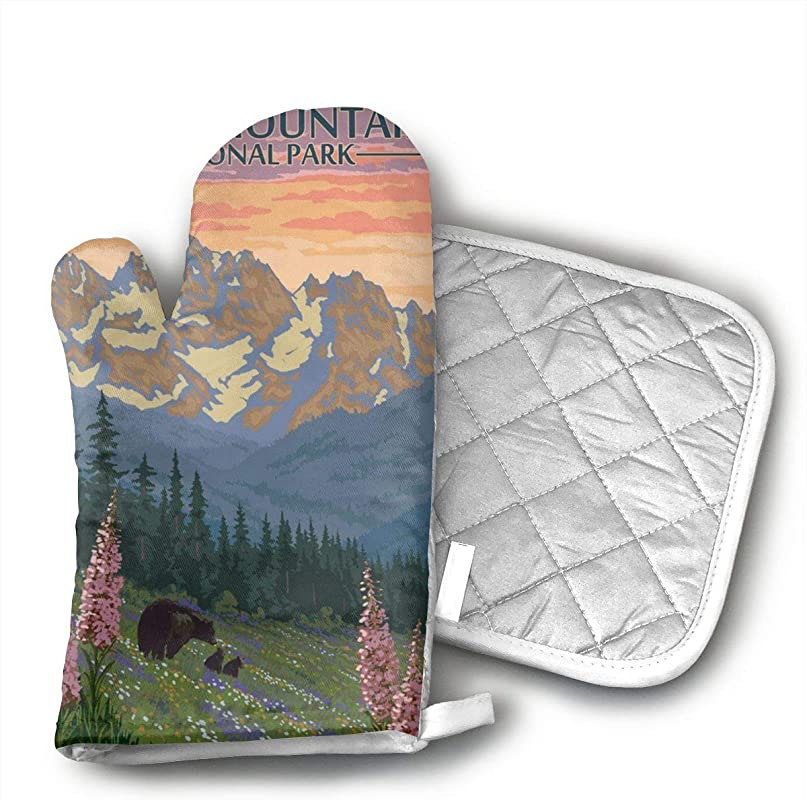 FSLKX Rocky Mountain National Park Oven Mitts Kitchen Oven Mitts Oven Gloves For BBQ Cooking Set Baking Grilling Barbecue Microwave Machine