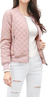 Allegra K Women's Raglan Long Sleeves Quilted Zip Up Bomber Jacket