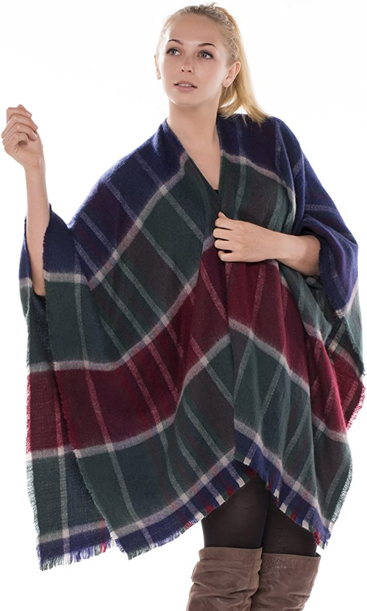 BYOS Women Winter Chic Tartan Plaid Oversize Blanket Scarf Wrap Shawl