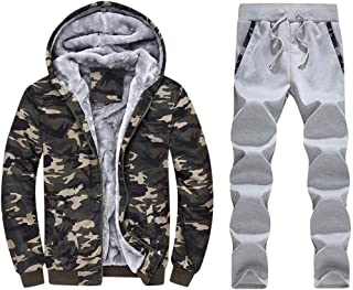 Iuhan Men Winter Hoodie Warm Thicken Zipper Fur Inside Long Sleeve Sweater Outwear Hooded Coat Pants Sets Multicolor Camou...