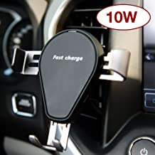 Exuby 10W Wireless Car Charger – Qi Certified, Fast Charging – Air Vent Attachment – 1-Handed Operation – Compatible with iPhone X, iPhone 8/8 Plus, Samsung Galaxy S9/S9+/S8/S8+/S7/Note 8 & More