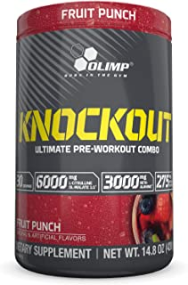 Olimp Knockout Pre Workout Powder Shake - Pack of 14.8 oz - 30 Servings - Fruit Punch - Muscle-Pump Supplement - Caffeine Beta Alanine L-Citrulline Betaine