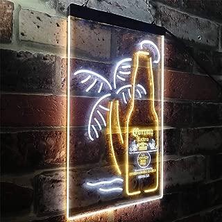 zusme Corona Extra Bottle Palm Tree Novelty LED Neon Sign White + Yellow W12 x H16