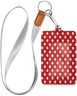 HMZXZ Porte-badge d'identification vertical en cuir synthétique avec cordon détachable Motif à pois Rouge