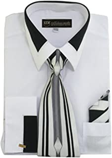 Men's Fashion Dress Shirt With Contrast Design Tie Hankie & Cuffs